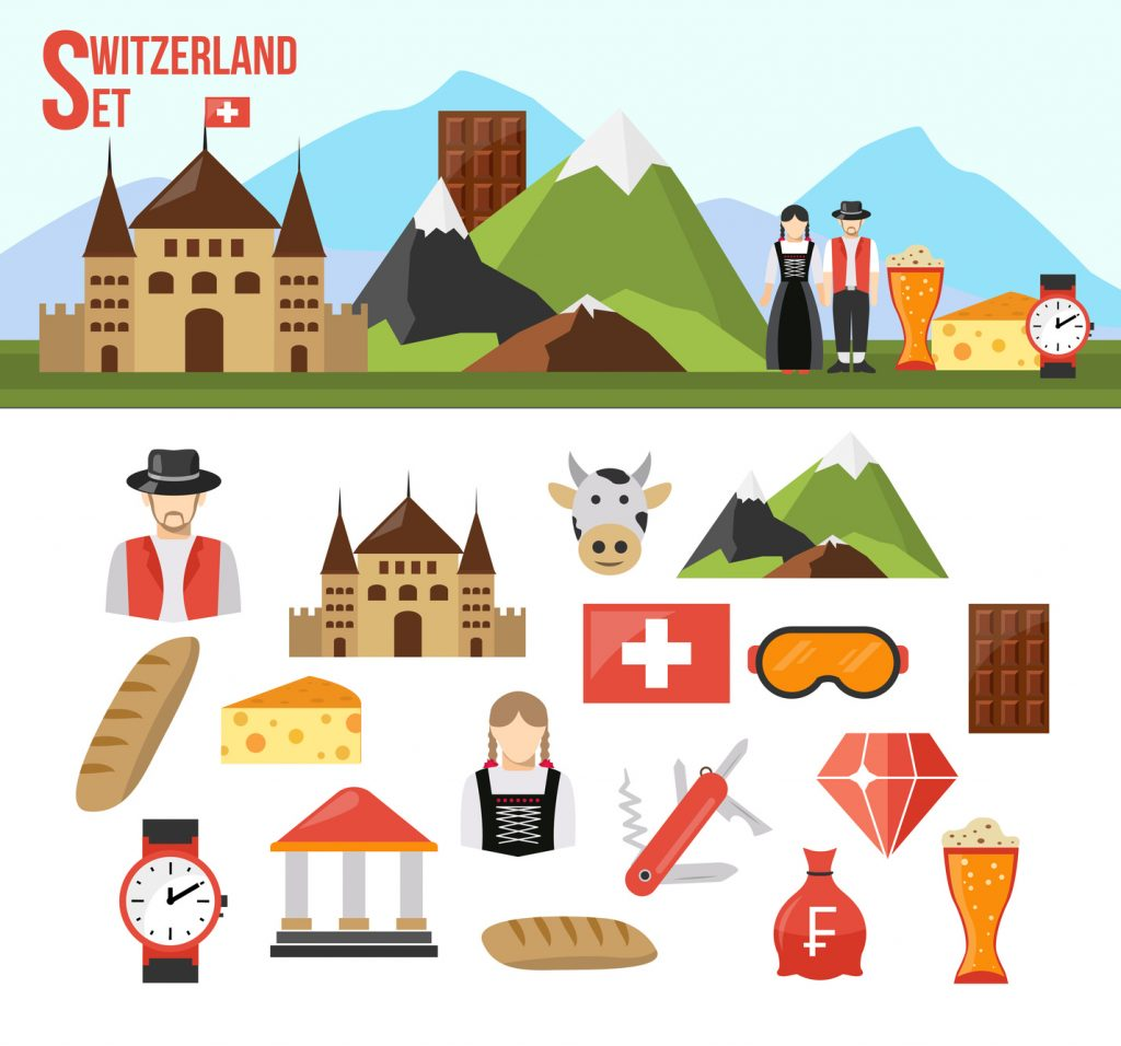 Switzerland symbols set with flat icons of food money and people isolated vector illustration
